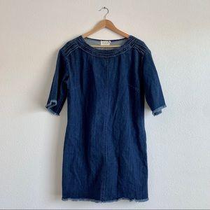 Dark Denim Frayed Shift Dress - Med